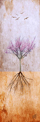 Lavender Redbud And Birds Art Print