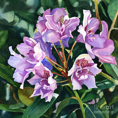 Violet Blue Painting - Lavender Rhododendron Square Design by Sharon Freeman