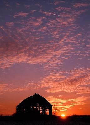 Lavender Sunset Silhouette Art Print