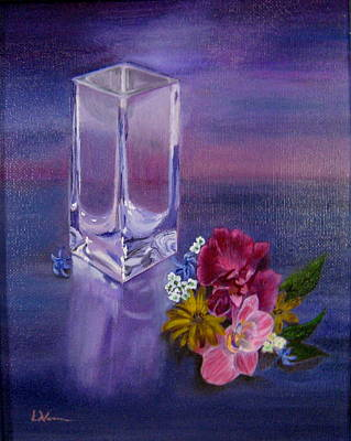 Art Print featuring the painting Lavender Vase by LaVonne Hand