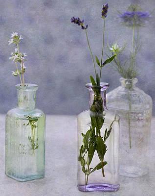 Photograph - Lavender Vintage Bottle Bouquets by Cathie Richardson