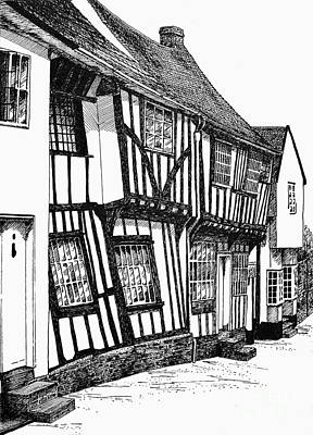 Timber-framed Drawing - Lavenham Timber by Shirley Miller