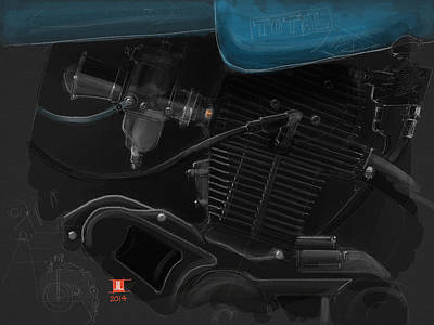 Drawing - Laverda Engine Detail by Jeremy Lacy