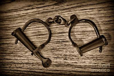 Cuff Bracelet Photograph - Law Enforcement - Antique Handcuffs - Black And White by Paul Ward
