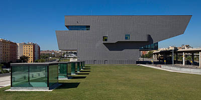 Barcelona Photograph - Lawn At A Museum, Disseny Hub Barcelona by Panoramic Images