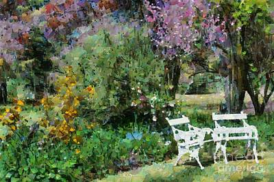 Digital Art - Lawn Chairs In The Garden by Fran Woods