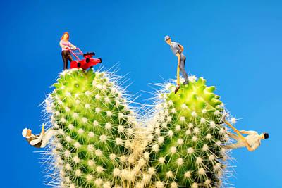 Lawn Mowing On Cactus II Original by Paul Ge