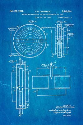 Lawrence Photograph - Lawrence Cyclotron Patent Art 1934 Blueprint by Ian Monk