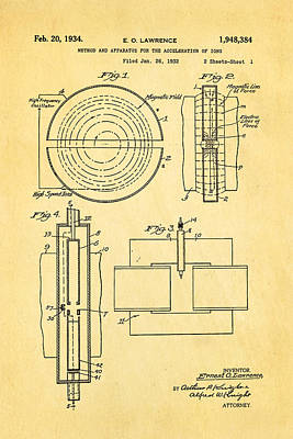 Lawrence Photograph - Lawrence Cyclotron Patent Art 1934 by Ian Monk