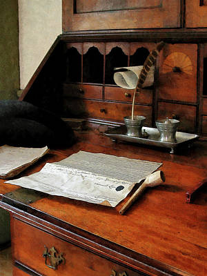 Secretaries Photograph - Lawyer - Quill Papers And Pipe by Susan Savad