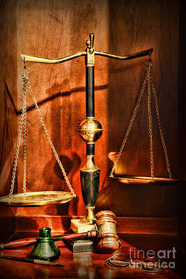 Lawyer - Scales Of Justice Art Print by Paul Ward