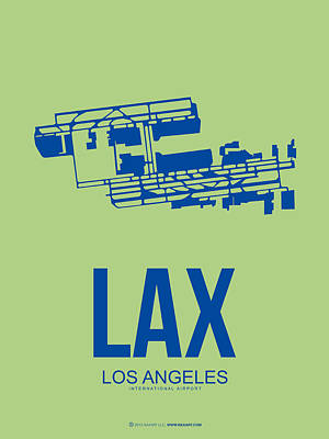 Town Mixed Media - Lax Airport Poster 1 by Naxart Studio