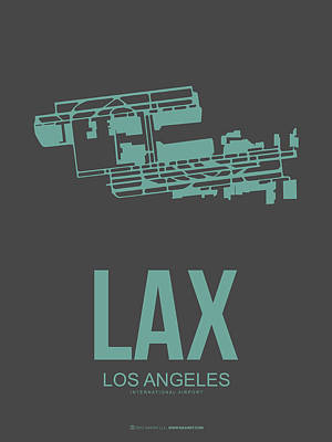 Town Mixed Media - Lax Airport Poster 2 by Naxart Studio