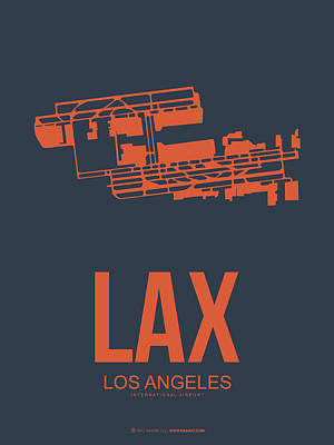 Town Mixed Media - Lax Airport Poster 3 by Naxart Studio