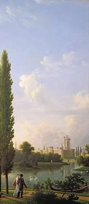 Laxenburg Castle, Near Vienna, 1810 Oil On Canvas Art Print by Jean Bidauld