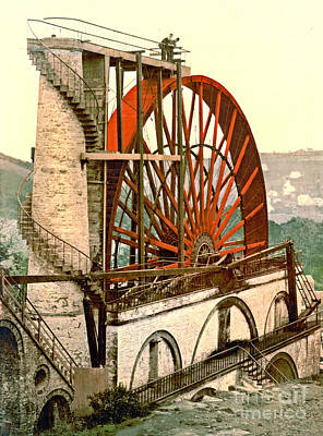 Waterwheel Photograph - Laxey Wheel 1890 by Padre Art