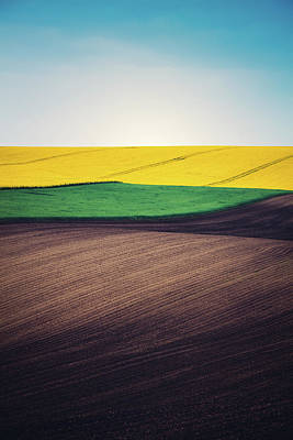 Layers Of Colorful Field Art Print by Borchee