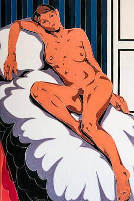 Laying Nude Print by Varvara Stylidou