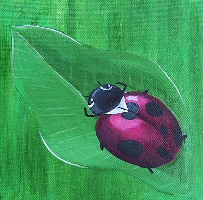 Ladybug Painting - Laying On A Leaf by Tracie Davis