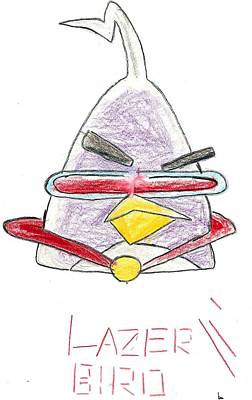 Drawing - Lazer Angry Bird by Ethan Chaupiz
