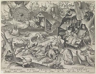 Deadly Drawing - Laziness, Pieter Van Der Heyden, Hieronymus Cock by Pieter Van Der Heyden And Hieronymus Cock