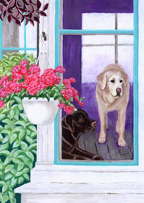 Chocolate Labrador Retriever Painting - Lazy Afternoon Labradors by Naomi Ochiai