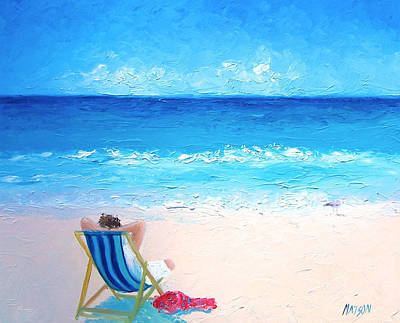 Beach Cabin Painting - Lazy Beach Day by Jan Matson