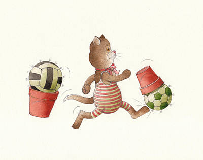 Soccer Drawing - Lazy Cats01 by Kestutis Kasparavicius