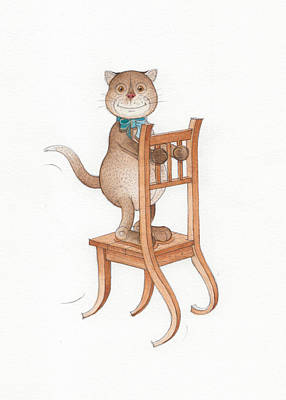 Chair Drawing - Lazy Cats08 by Kestutis Kasparavicius