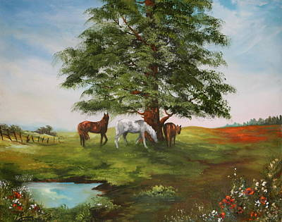 Harness Racing Painting - Lazy Days In Summer by Jean Walker