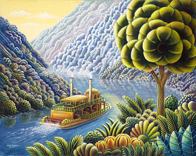 Steamboat Painting - Lazy River by Andy Russell