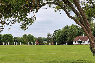 Lazy Sunday Afternoon - Cricket On The Village Green Art Print by Gill Billington