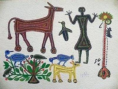 Indian Tribal And Folk Art Painting - Lb 193 by Ladoo Bai