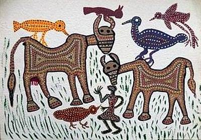 Indian Tribal And Folk Art Painting - Lb 194 by Ladoo Bai