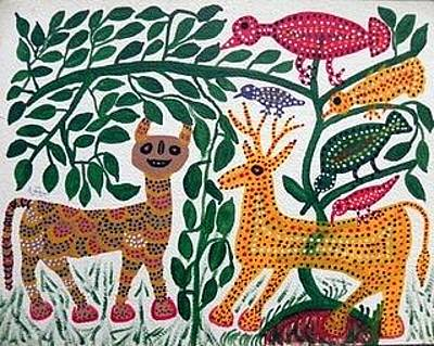 Indian Tribal And Folk Art Painting - Lb 195 by Ladoo Bai