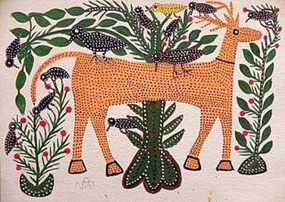 Indian Tribal And Folk Art Painting - Lb 197 by Ladoo Bai
