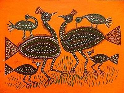 Indian Tribal And Folk Art Painting - Lb 202 by Ladoo Bai