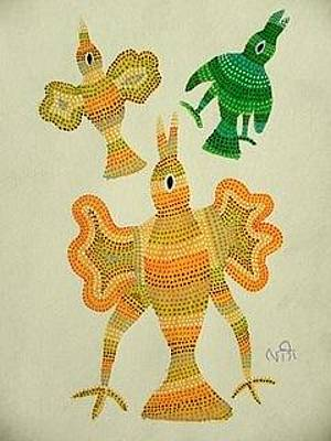 Indian Tribal And Folk Art Painting - Lb 207 by Ladoo Bai