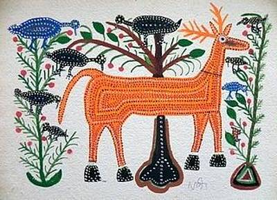 Indian Tribal And Folk Art Painting - Lb 208 by Ladoo Bai