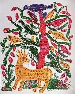 Indian Tribal And Folk Art Painting - Lb 210 by Ladoo Bai