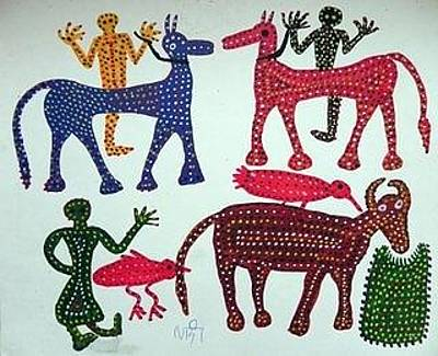 Indian Tribal And Folk Art Painting - Lb 215 by Ladoo Bai