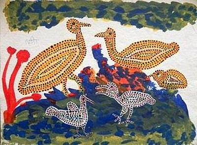 Indian Tribal And Folk Art Painting - Lb 222 by Ladoo Bai