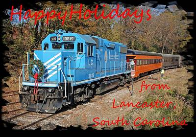 Photograph - Santa Train Greeting Card Holidays Red Font by Joseph C Hinson Photography