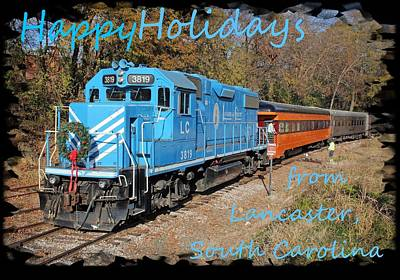 Photograph - Santa Train Greeting Cards Holidays Blue Font by Joseph C Hinson Photography