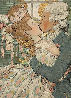 Evening Dress Drawing - Le Baiser by Konstantin Andreevic Somov