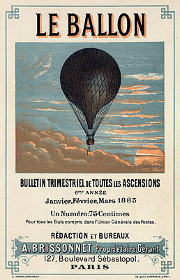 Vintage Advert Digital Art - Le Ballon Advertising For French Aeronautical Journal by Georgia Fowler