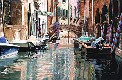 Venezia Painting - Le Barche E I Pali Colorati by Guido Borelli
