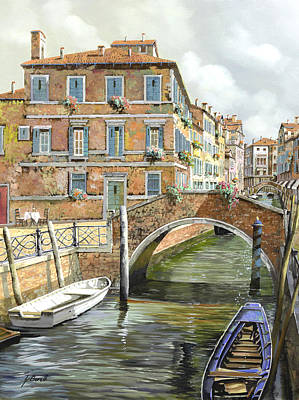 Table Painting - Le Barche Sotto Il Ponte by Guido Borelli