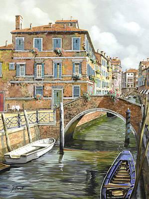 Breakfast Painting - Le Barche Sotto Il Ponte by Guido Borelli