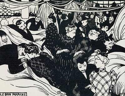 Crowd Scene Drawing - Le Bon Marche by Felix Edouard Vallotton